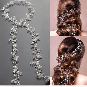 Crystal and Pearl Wire Vine Sash/ Hair Bridal
